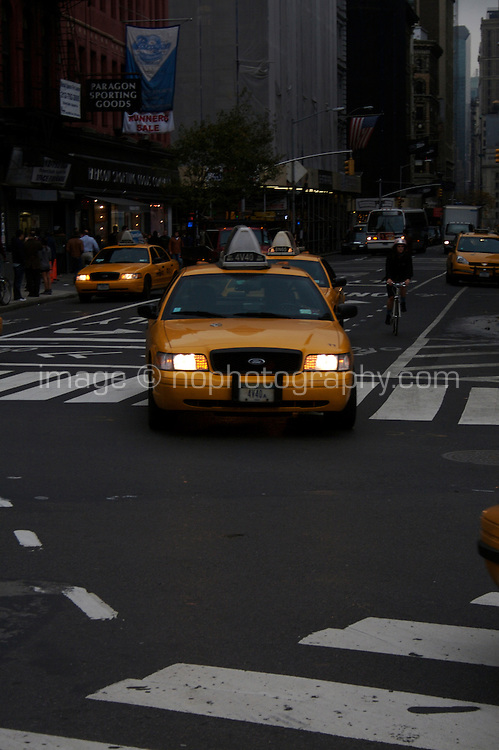 Taxi cab on midtown Manhattan street New York