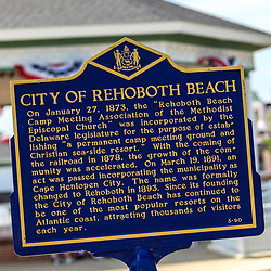 Rehoboth Beach, DE - June 25, 2016: City of Rehoboth Beach historic sign near the boardwalk.
