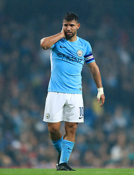 """Manchester City's Sergio Aguero during the Carabao Cup, Fourth Round match at the Etihad Stadium, Manchester. PRESS ASSOCIATION Photo. Picture date: Tuesday October 24, 2017. See PA story SOCCER Man City. Photo credit should read: Tim Goode/PA Wire. RESTRICTIONS: EDITORIAL USE ONLY No use with unauthorised audio, video, data, fixture lists, club/league logos or """"live"""" services. Online in-match use limited to 75 images, no video emulation. No use in betting, games or single club/league/player publications."""