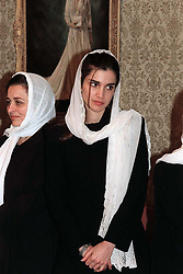 Queen Rania of Jordan receives condolences after King Hussein's funeral at the Royal palace in Amman, Jordan on February 9, 1999. Twenty years ago, end of January and early February 1999, the Kingdom of Jordan witnessed a change of power as the late King Hussein came back from the United States of America to change his Crown Prince, only two weeks before he passed away. Photo by Balkis Press/ABACAPRESS.COM