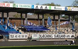 Tomme tribuner under kampen i 3F Superligaen mellem Lyngby Boldklub og FC København den 1. juni 2020 på Lyngby Stadion (Foto: Claus Birch).