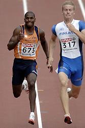 10-08-2006 ATLETIEK: EUROPEES KAMPIOENSSCHAP: GOTHENBORG <br /> Eugene Martineau op de 100 meter, rechts Raunio, Lassi  (FIN) die 2de werd<br /> ©2006-WWW.FOTOHOOGENDOORN.NL
