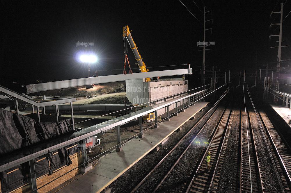 Night Bridge Steel Pick over Northeast Corridor Tracks. Construction of the Railroad Station at Fairfield Metro Center, Connecticut.