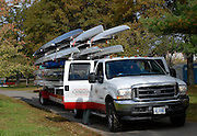 Boston, Massachusetts, USA. Canadian Rowing Team, Boat Trailer and Truck, moving into the venders area during the thur's afternoon,  19/10/2006,  on the Charles River, Preparing for the 2006 Head of the Charles,  Photo  Peter Spurrier/Intersport Images...[Mandatory Credit, Peter Spurier/ Intersport Images] Rowing Course; Charles River. Boston. USA Equipment