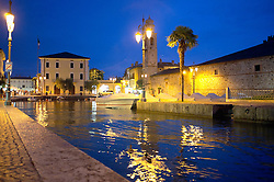Lazise harbour lake Garda night illuminated