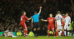 05.12.2011, Craven Cottage Stadion, London, ENG, PL, FC Fulham vs FC Liverpool, 14. Spieltag, im Bild Liverpool's Jay Spearing is shown the red card by referee Kevin Friend, to the amazement of his team-mates during the football match of English premier league, 14th round, between FC Fulham and FC Liverpool at Craven Cottage Stadium, London, United Kingdom on 05/12/2011. EXPA Pictures © 2011, PhotoCredit: EXPA/ Sportida/ David Rawcliff..***** ATTENTION - OUT OF ENG, GBR, UK *****