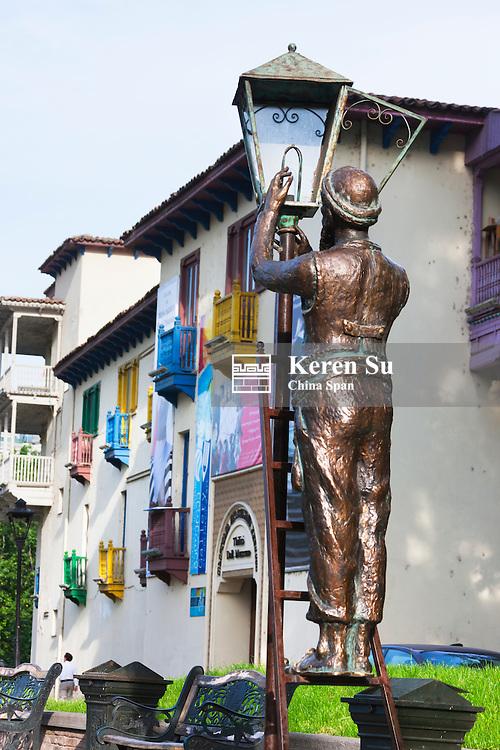 Sculpture of man fixing light bulb on the street, Tbilisi, Georgia