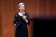 Koningin Maxima tijdens het jubileumcongres Nibud in TivoliVredenburg.<br /> <br /> Queen Maxima during the Nibud jubilee congress in TivoliVredenburg.<br /> <br />  <br /> Op de foto:  Marijke Roskam