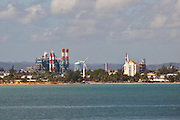 View of the Bacardi Corporation factory and wind turbines in San Juan, Puerto Rico.