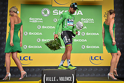 July 20, 2018 - Valence, FRANCE - Slovak Peter Sagan of Bora-Hansgrohe celebrates on the podium in the green jersey of leader in the sprint ranking after the 13th stage in the 105th edition of the Tour de France cycling race, from Bourg d'Oisans to Valence (169,5 km), France, Friday 20 July 2018. This year's Tour de France takes place from July 7th to July 29th. BELGA PHOTO DAVID STOCKMAN (Credit Image: © David Stockman/Belga via ZUMA Press)