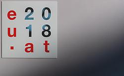20.09.2018, Salzburg, AUT, Informeller EU Gipfel der Staats und Regierungschefs, im Bild eu2018.at Logo // eu2018.at Logo during the Informal Summit of Heads of Governments and States of the European Union in Salzburg, Austria on 2018/09/20, EXPA Pictures © 2018, PhotoCredit: EXPA/ JFK