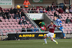 Hartlepool United's Luke Williams tries a shot - Photo mandatory by-line: Nigel Pitts-Drake/JMP - Tel: Mobile: 07966 386802 - 22/02/2014 - SPORT - FOOTBALL - Sixfields Stadium - Northampton - Northampton Town v Hartlepool United - Sky Bet League Two