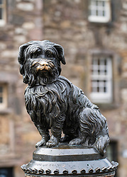 Famous statue of Greyfriars Bobby dog in Edinburgh Old Town, Scotland, UK