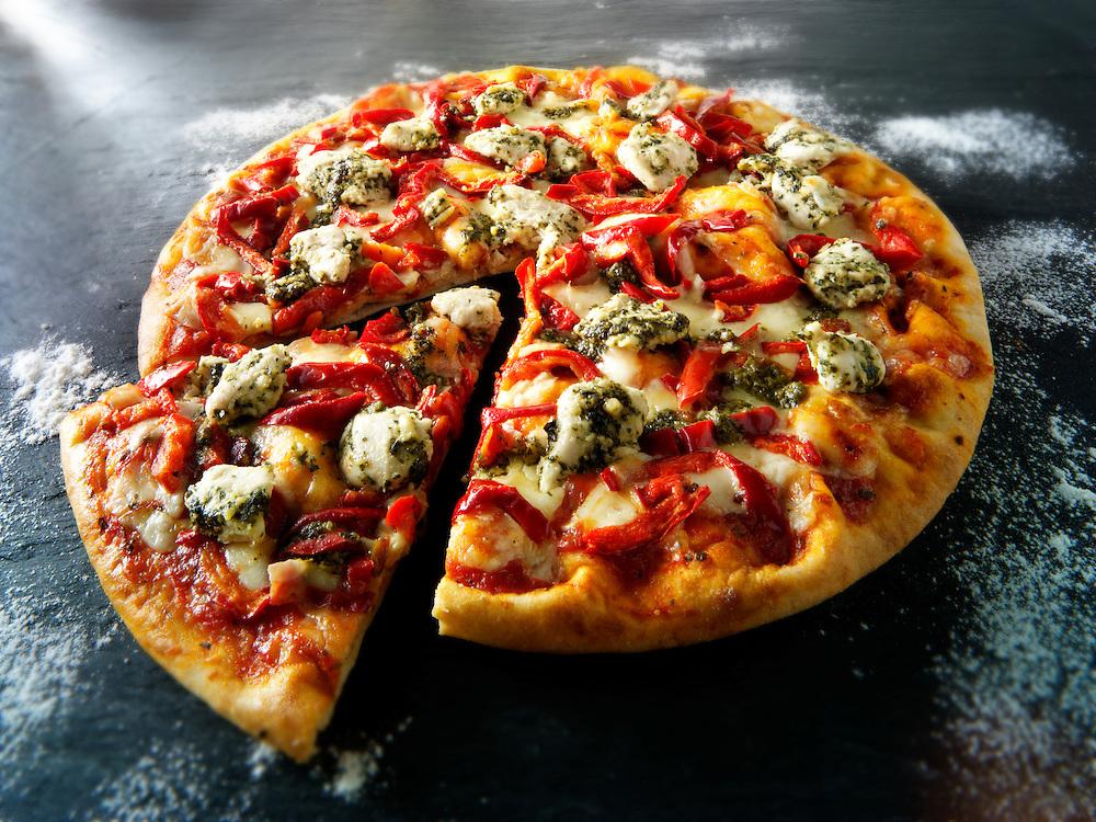Chicken topped Pizzas photos. Funky Stock pizzas photos