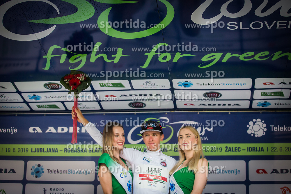 Tadej Pogacar (SLO) of UAE Team Emirates celebrating in white jersey best young rider overall, 5th Stage of 26th Tour of Slovenia 2019 cycling race between Trebnje and Novo mesto (167,5 km), on June 23, 2019 in Slovenia. Photo by Peter Podobnik / Sportida
