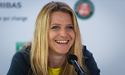 May 29, 2019 - Paris, FRANCE - Lucie Safarova of the Czech Republic talks to the media after playing her final career doubles match at the 2019 Roland Garros Grand Slam tennis tournament (Credit Image: © AFP7 via ZUMA Wire)