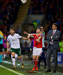 CARDIFF, WALES - Monday, October 9, 2017: Wales' Ben Davies is pushed by Republic of Ireland's Robbie Brady as he takes a throw-in, but the referee failed to punish the Eire player, during the 2018 FIFA World Cup Qualifying Group D match between Wales and Republic of Ireland at the Cardiff City Stadium. (Pic by David Rawcliffe/Propaganda)