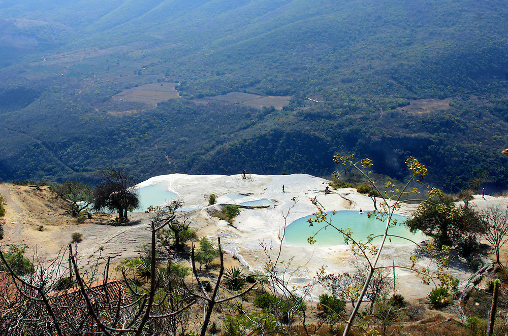 Looking down at the swimming areas and beginning of the Cascada Chica. Hierve el Agua, Oaxaca.