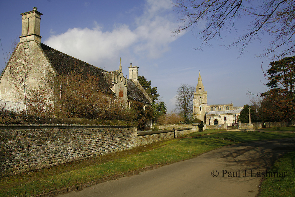 Parish Church in the village of Weekley, Northamptonshire. also showing the former Montagu hospital