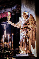 """Guardian Angel Helps to Illuminate the Altar of the Minor Basilica of San Lorenzo in Lucina Rome - Painting by Dino Carbetta""... <br />
