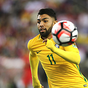 FOXBOROUGH, MASSACHUSETTS - JUNE 12:  Gabriel #11 of Brazil in action during the Brazil Vs Peru Group B match of the Copa America Centenario USA 2016 Tournament at Gillette Stadium on June 12, 2016 in Foxborough, Massachusetts. (Photo by Tim Clayton/Corbis via Getty Images)