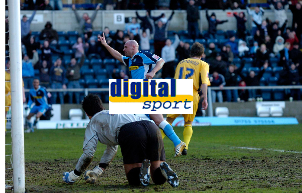 Photo: Richard Lane.<br />Wycombe Wanderers v Oxford United. Coca Cola League 2. 25/02/2006. <br />Wycombe's Tommy Mooney celebrates his goal.