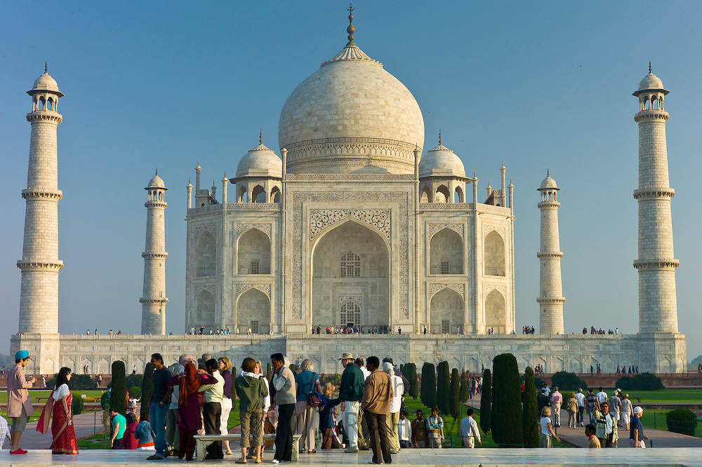 Tourists at The Taj Mahal mausoleum southern view Uttar Pradesh, India
