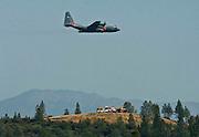 Greeley Hill, California-- July 31, 2008-Telegraph Fire-Wildfires Threaten Yosemite National Park.Air Forced C-130..Photo by Al GOLUB/Golub Photography