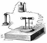 Carbon microphone, invented in 1878 by David Edward Hughes (1831-1900), English inventor.  From R. Wormell 'Electricity in the Service of Man'London, 1890. Engraving