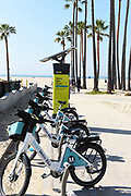 Smart Metro Bike Share Kiosk Along the Boardwalk and Beach in Venice Beach