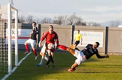 Falkirk's Lyle Taylor misses a chance..Dumbarton 0 v 2 Falkirk, 23/2/2013..©Michael Schofield.