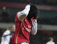 Photo: Olly Greenwood.<br />Arsenal v Tottenham Hotspur. Carling Cup Semi Final 2nd leg 31/01/2007. Arsenal's Kolo Toure can't beleive his shot missed the goal