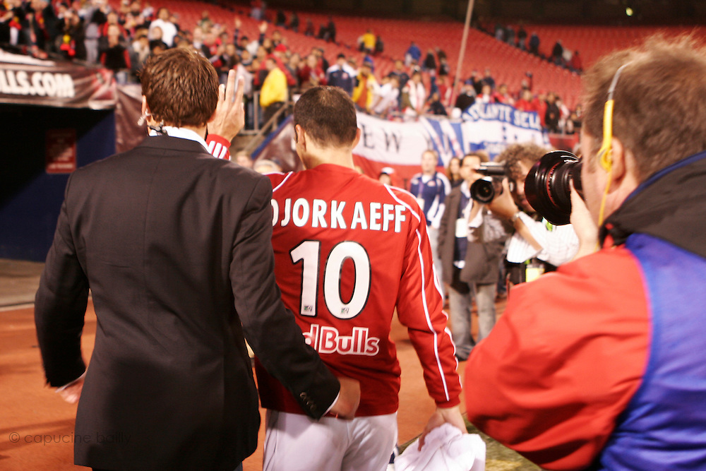 Saturday October 14th 2006. .Giants Stadium, East Rutherford, New Jersey. United States..Red Bulls French soccer player Youri Djorkaeff leaves the soccer field after a game against Kansas City at the Giants Stadium. This game could have been be his last one as a professional player if the Red Bulls didn't win 3-2.