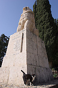 Israel, Upper Galilee, Tel Hai The roaring lion monument in honour of Yosef (Joseph) Trumpeldor and friends who died while protecting the settlement from Arab attack in 1920. The statue is by Avraham Melinkov from 1934
