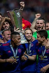 24-05-2017 SWE: Final Europa League AFC Ajax - Manchester United, Stockholm<br /> Finale Europa League tussen Ajax en Manchester United in het Friends Arena te Stockholm / Wayne Rooney met de Europa Cup trophy, Daley Blind #17 of Manchester United