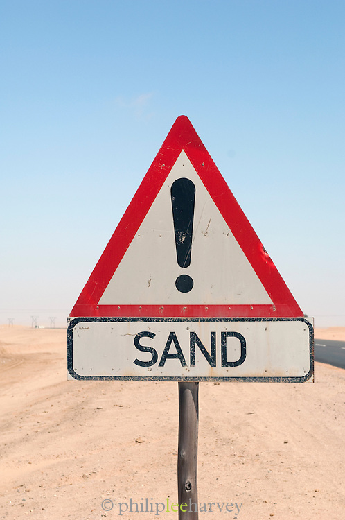 'SAND' Road information sign in the Namib Desert, Namibia