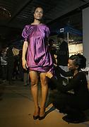 "Joan Vaccianna prepares model at "" The Brooklyn Underground Fashion Rocks! "" BK Fashion Week(end)  held at Northside Pier at Kent Avenue in Williamburg, Brooklyn on March 22, 2008"
