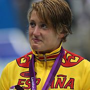 Mireia Belmonte Garcia, Spain, winning the Silver Medal in the Women's 200m Butterfly Final at the Aquatic Centre at Olympic Park, Stratford during the London 2012 Olympic games. London, UK. 1st August 2012. Photo Tim Clayton