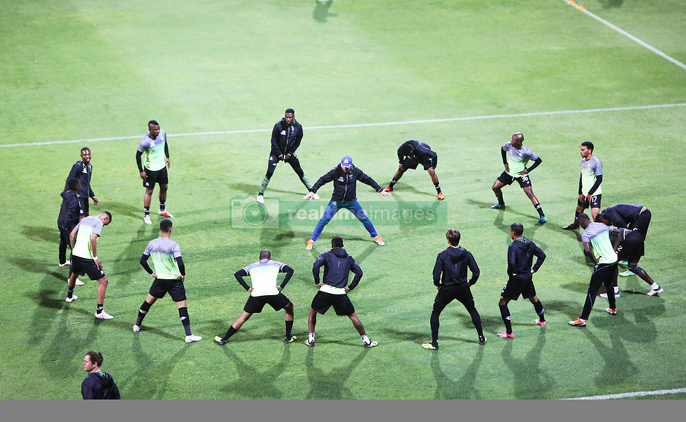 02102018 (Durban) Maritzburg United whole team warm up before the game when AmaZulu FC takes head on their KwaZulu-Natal rivals Maritzburg United in an Absa Premiership match at the King Zwelithini Stadium in Durban on Tuesday night. Usuthu extended their winless run to three league games when they lost 2-0 to Kaizer Chiefs away in their previous match over a week ago and after losing 6 points.<br /> Picture: Motshwari Mofokeng/African News Agency (ANA)