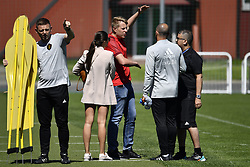 June 15, 2018 - Moscow, RUSSIA - Belgium's assistant coach Graeme Jones, Belgium's head coach Roberto Martinez and Belgium's video analyst Moussa El Habchi pictured during a training session of Belgian national soccer team the Red Devils in Nahabino, near Moscow, Russia, Friday 15 June 2018. The team is preparing for their first game at the FIFA World Cup 2018 next Monday. BELGA PHOTO DIRK WAEM (Credit Image: © Dirk Waem/Belga via ZUMA Press)