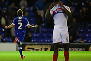 Josh Law of Oldham Athletic runs towards the home fans to celebrate scoring the third goal to make it 2-1 during the EFL Cup match between Oldham Athletic and Wigan Athletic at Boundary Park, Oldham, England on 9 August 2016. Photo by Simon Brady.