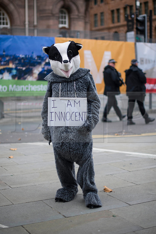 © Licensed to London News Pictures. 04/10/2017. Manchester, UK.  A protester during the demonstration on the final day of the Tory Party Conference. The protest was as part of the Take Back Manchester festival to protest the conference taking part in the city.  Photo credit: Steven Speed/LNP