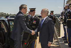 May 2, 2017 - Washington, District of Columbia, U.S. - Pentagon Welcome. Defense Secretary JIM MATTIS shakes hands with Czech Republic Defense Minister MARTIN STROPNICKY before an honor guard ceremony at the Pentagon, May 2, 2017. The two defense leaders met to discuss matters of mutual importance. DoD photo by Army Sgt. Amber I. Smith. (Credit Image: ? Amber I. Smith/Army/DoD via ZUMA Wire/ZUMAPRESS.com)
