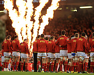 Wales players line up ready for the national anthems ahead of k/o. RBS Six Nations championship 2016, Wales v Italy at the Principality Stadium in Cardiff, South Wales on Saturday 19th March 2016. pic by  Andrew Orchard, Andrew Orchard sports photography.
