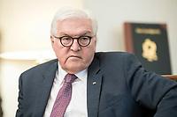 02 JUL 2018, BERLIN/GERMANY:<br /> Frank-Walter Steinmeier, Bundespraesident, waehrend einem Interview, Amtszimmer des Bundespraesidenten, Schloss Bellevue<br /> IMAGE: 20180702-01-018<br /> KEYWORDS: Bundespräsident