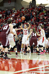 03 March 2013:  Alison Seberger passes in during an NCAA Missouri Valley Conference (MVC) women's basketball game between the Missouri State Bears and the Illinois Sate Redbirds at Redbird Arena in Normal IL