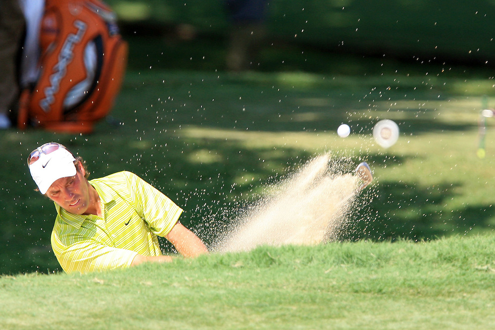 12 August 2007: Stephen Ames hits out of the green-side bunker on the 8th hole during the final round of the 89th PGA Championship at Southern Hills Country Club in Tulsa, OK.
