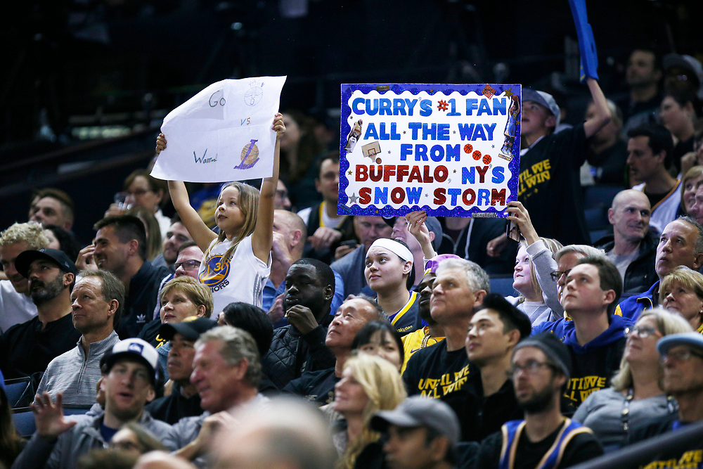 Golden State Warriors fans in the first half of an NBA game against the Los Angeles Lakers at Oracle Arena on Saturday, Feb. 2, 2019, in Oakland, Calif.