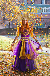 Pictured: Zoe Hutber wearing an outfit designed by Megan Laurie Henry.<br /> <br /> Outfits adorned with bells, lights and mirrors are among the designs by University of Edinburgh students which are to feature at events marking the Indian festival of Diwali this weekend<br /> (c) Ger Harley   Edinburgh Elite media