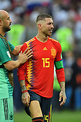 Pepe Reina and Sergio Ramos dejected after being eliminated of the 2018 FIFA World Cup by the Russia in Moscow, Russia on July 1st, 2018. Photo by Lionel Hahn/ABACAPRESS.COM